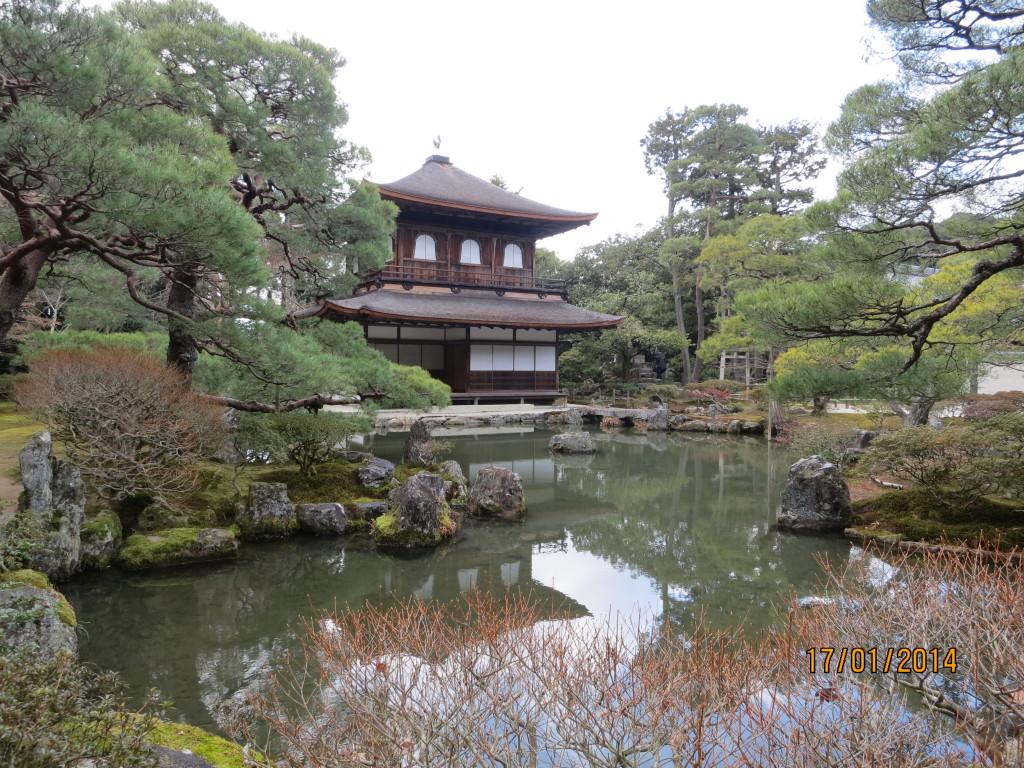 Supposedly a number of temples were converted from Shintoism the Buddhism after it's introduction to Japan. Not sure about this one though. the famous [not so] Silver Pavillion, Kyoto.